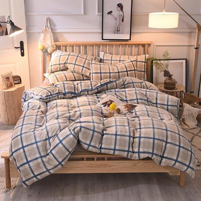 2019新款-无印良品风格牛奶绒四件套 床单款四件套1.5m(5英尺)床 英伦蓝