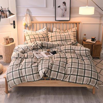 2019新款-无印良品风格牛奶绒四件套 床单款四件套1.5m(5英尺)床 英伦绿