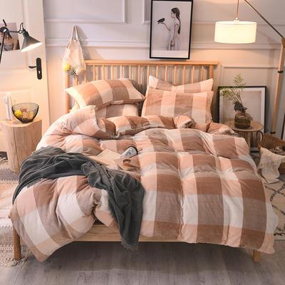 2019新款-无印良品风格牛奶绒四件套 床单款四件套1.8m(6英尺)床 粉大格