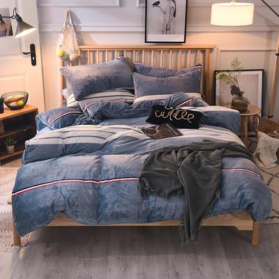 2019新款-无印良品风格牛奶绒四件套 床单款三件套1.2m(4英尺)床 极简主义-蓝