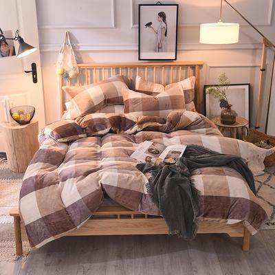 2019新款-无印良品风格牛奶绒四件套 床单款三件套1.2m(4英尺)床 咖大格