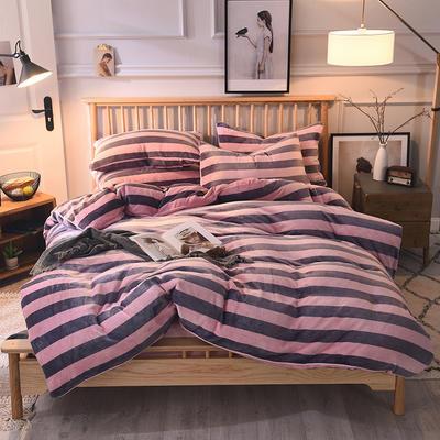 2019新款-无印良品风格牛奶绒四件套 床单款三件套1.2m(4英尺)床 宽粉灰条