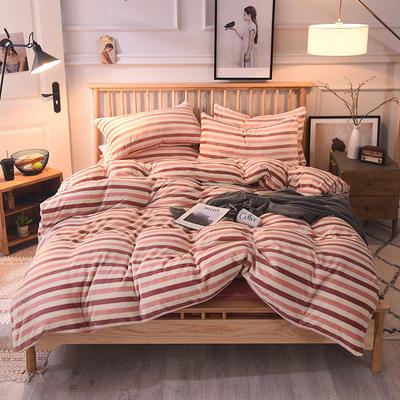 2019新款-无印良品风格牛奶绒四件套 床单款四件套1.5m(5英尺)床 宽条纹-红