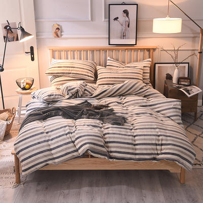 2019新款-无印良品风格牛奶绒四件套 床单款四件套1.8m(6英尺)床 宽条纹-灰