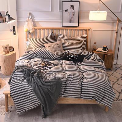 2019新款-无印良品风格牛奶绒四件套 床单款四件套1.8m(6英尺)床 细灰白条