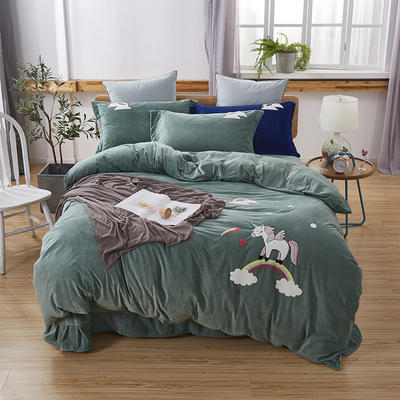 2019新款-小飞象卡通毛巾绣四件套 床单款1.5m(5英尺)床 马踏祥云-绿