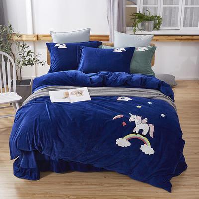 2019新款-小飞象卡通毛巾绣四件套 床单款1.5m(5英尺)床 马踏祥云-深蓝