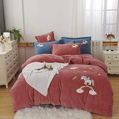 2019新款-小飞象卡通毛巾绣四件套 床单款1.5m(5英尺)床 马踏祥云-砖红