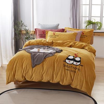 2019新款-小飞象卡通毛巾绣四件套 床单款1.5m(5英尺)床 甜蜜熊猫-姜黄