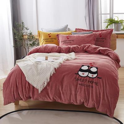 2019新款-小飞象卡通毛巾绣四件套 床单款1.5m(5英尺)床 甜蜜熊猫-砖红