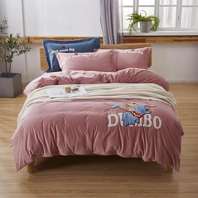 2019新款-小飞象卡通毛巾绣四件套 床单款1.5m(5英尺)床 小飞象-粉玉