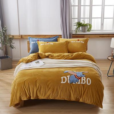 2019新款-小飞象卡通毛巾绣四件套 床单款1.5m(5英尺)床 小飞象-姜黄