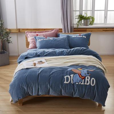 2019新款-小飞象卡通毛巾绣四件套 床单款1.5m(5英尺)床 小飞象-蓝