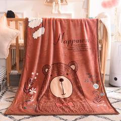 2018新款双层童毯 100*140cm 咖啡熊