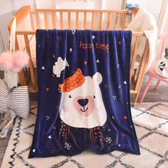 2018新款双层童毯 100*140cm 帽子熊