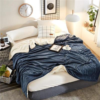 2018新款印花羊羔绒毛毯 100*120cm 藏青竖条