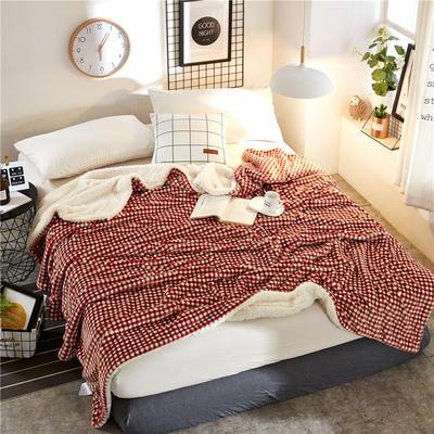 2018新款印花羊羔绒毛毯 100*120cm 橙红小格