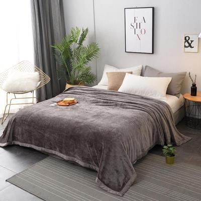 2019新款400克素色单层北极绒毛毯 200cmx230cm 银灰