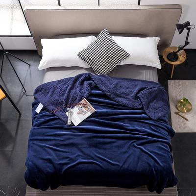 2019新款纯色羊羔绒毛毯(21色) 200cmx230cm 宝石蓝