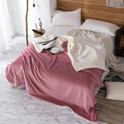 2019新款纯色羊羔绒毛毯(21色) 200cmx230cm 豆沙白