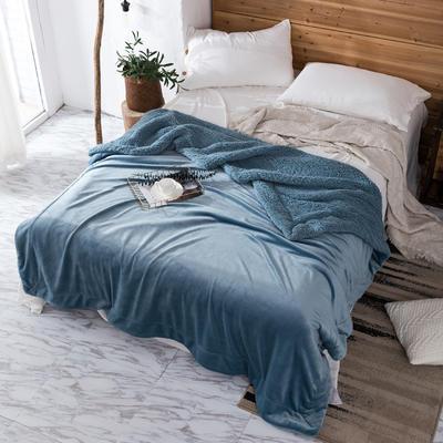2019新款纯色羊羔绒毛毯(21色) 200cmx230cm 孔雀蓝
