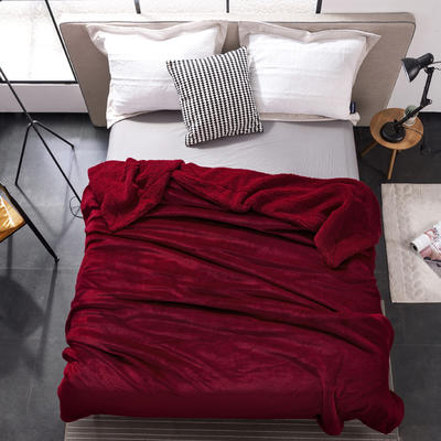 2019新款纯色羊羔绒毛毯(21色) 200cmx230cm 魅力红
