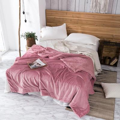 2019新款纯色羊羔绒毛毯(21色) 200cmx230cm 蜜桃粉