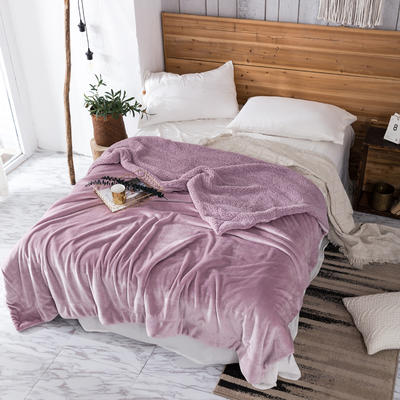 2019新款纯色羊羔绒毛毯(21色) 200cmx230cm 藕色