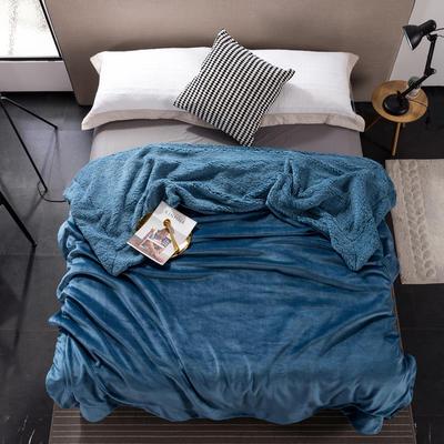 2019新款纯色羊羔绒毛毯(21色) 200cmx230cm 午夜蓝