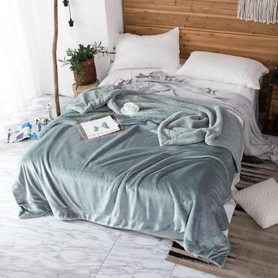 2019新款纯色羊羔绒毛毯(21色) 200cmx230cm 烟雾蓝