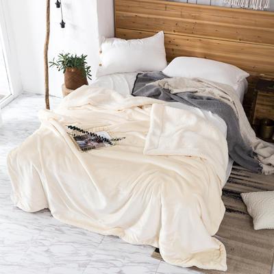 2019新款纯色羊羔绒毛毯(21色) 200cmx230cm 珍珠白