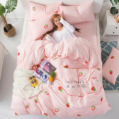 2018新款13372全棉四件套-终版 1.8m(6英尺)床 草莓乐园