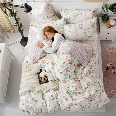 2018新款13372全棉四件套-终版 1.8m(6英尺)床 晓来花枝-米白