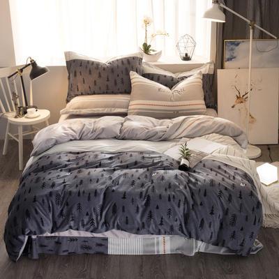 2018新款水晶绒四件套 1.5m(5英尺)床 风情摩卡-灰