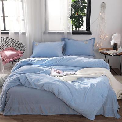 2018新款兔兔绒保暖四件套-床单款 1.5m/1.8m 蓝