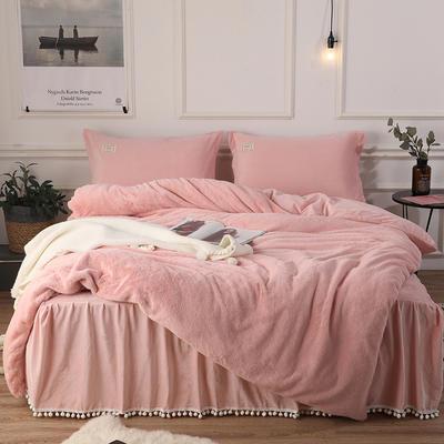 2018新款兔兔绒保暖四件套-床裙款 1.5m(5英尺)床 粉