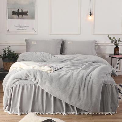 2018新款兔兔绒保暖四件套-床裙款 1.5m(5英尺)床 灰