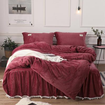 2018新款兔兔绒保暖四件套-床裙款 1.5m(5英尺)床 酒红