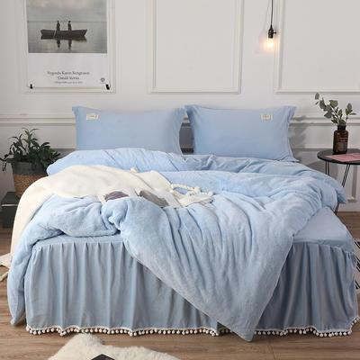 2018新款兔兔绒保暖四件套-床裙款 1.5m(5英尺)床 蓝