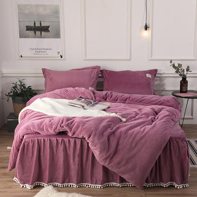2018新款兔兔绒保暖四件套-床裙款 1.5m(5英尺)床 紫