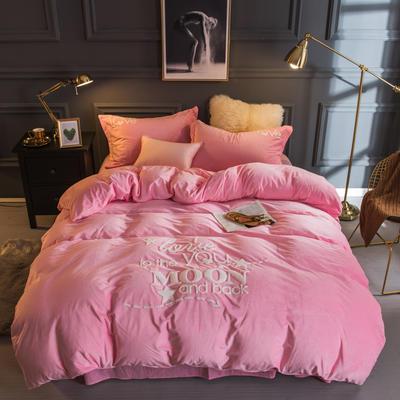 2018新款宝宝绒毛巾绣四件套-爱你每一天系列 1.8m(6英尺)床 爱你每一天-粉色