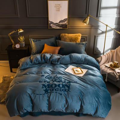 2018新款宝宝绒毛巾绣四件套-爱你每一天系列 1.8m(6英尺)床 爱你每一天-蓝色