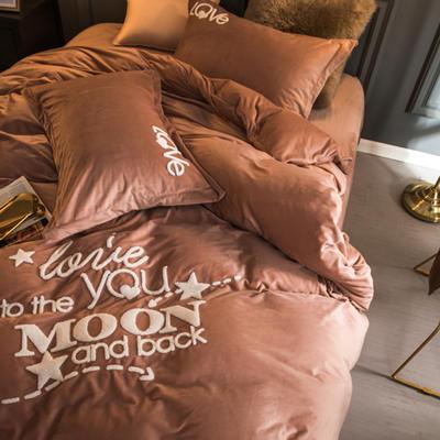 2018新款宝宝绒毛巾绣四件套-爱你每一天系列 1.5m(5英尺)床 爱你每一天-驼色