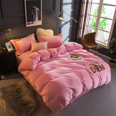 2018新款宝宝绒毛巾绣四件套--快乐每一天系列 1.8m(6英尺)床 快乐每一天粉色