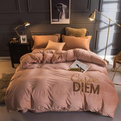 2018新款宝宝绒毛巾绣四件套--快乐每一天系列 1.5m(5英尺)床 快乐每一天驼色