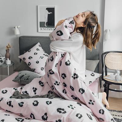 2019新款全棉北欧轻奢系列四件套 1.2m床单款三件套 豹纹芭比(粉)