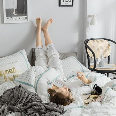 2019新款全棉北欧轻奢系列四件套 1.2m床单款三件套 美丽邂逅(蓝)