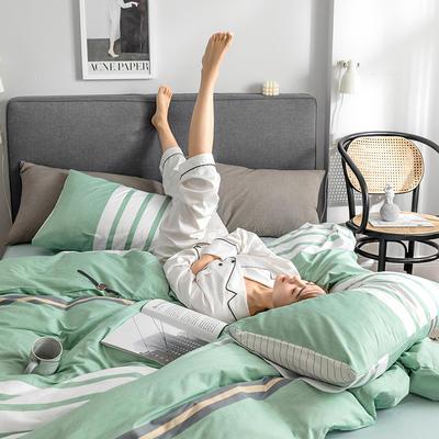 2019新款全棉北欧轻奢系列四件套 1.2m床单款三件套 时尚秀(绿)
