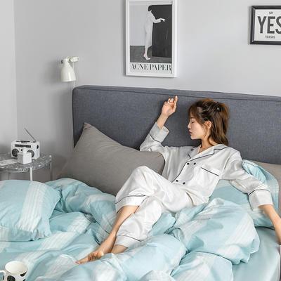 2019新款全棉北欧轻奢系列四件套 1.2m床单款三件套 唯美爱情(蓝)