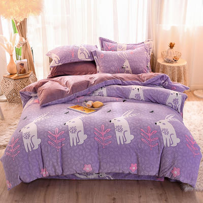 2019新款雕花宝宝绒四件套 1.2m床单款三件套 贝贝兔-紫